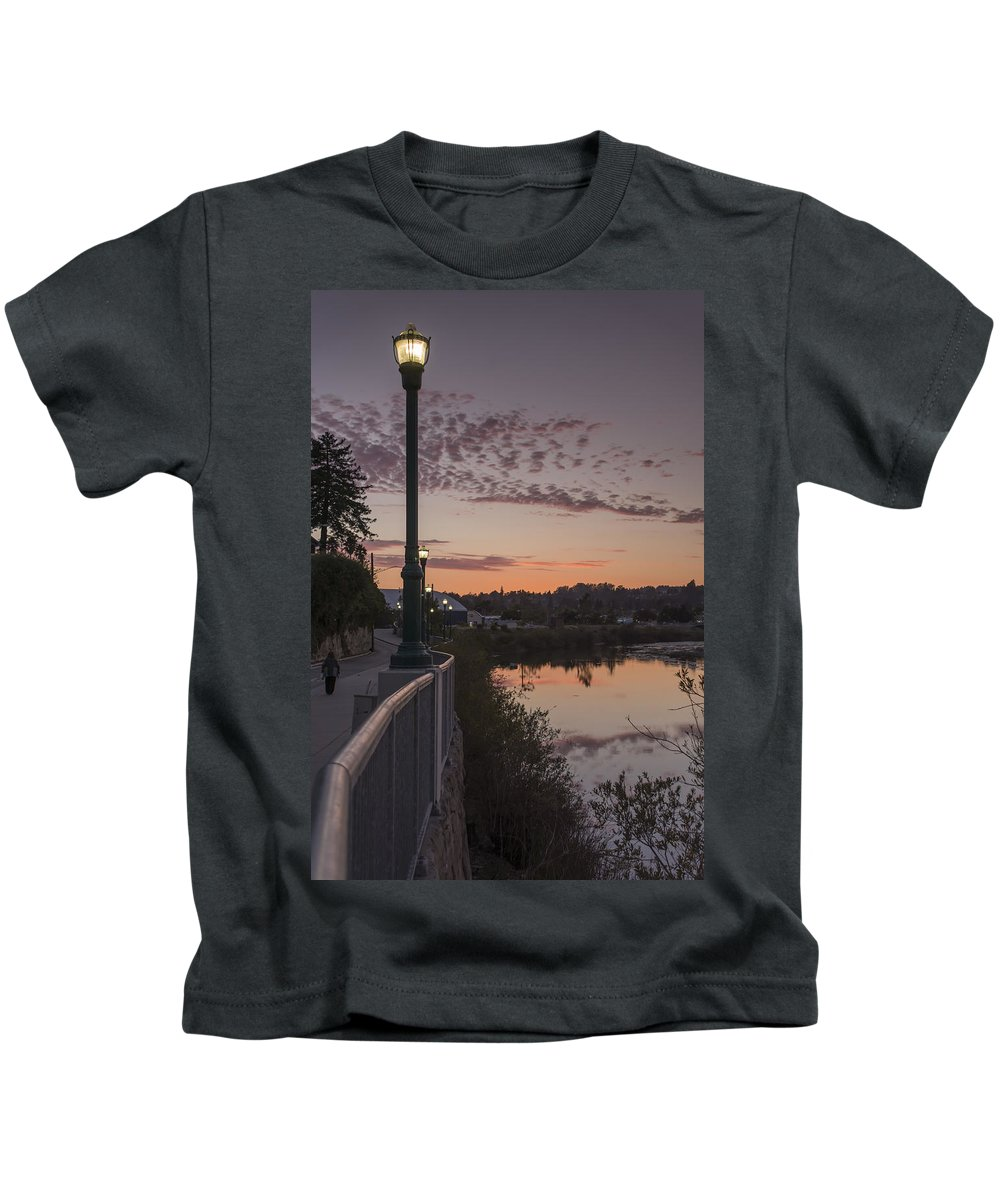 Sunset Kids T-Shirt featuring the photograph Evening By The River by Bruce Frye