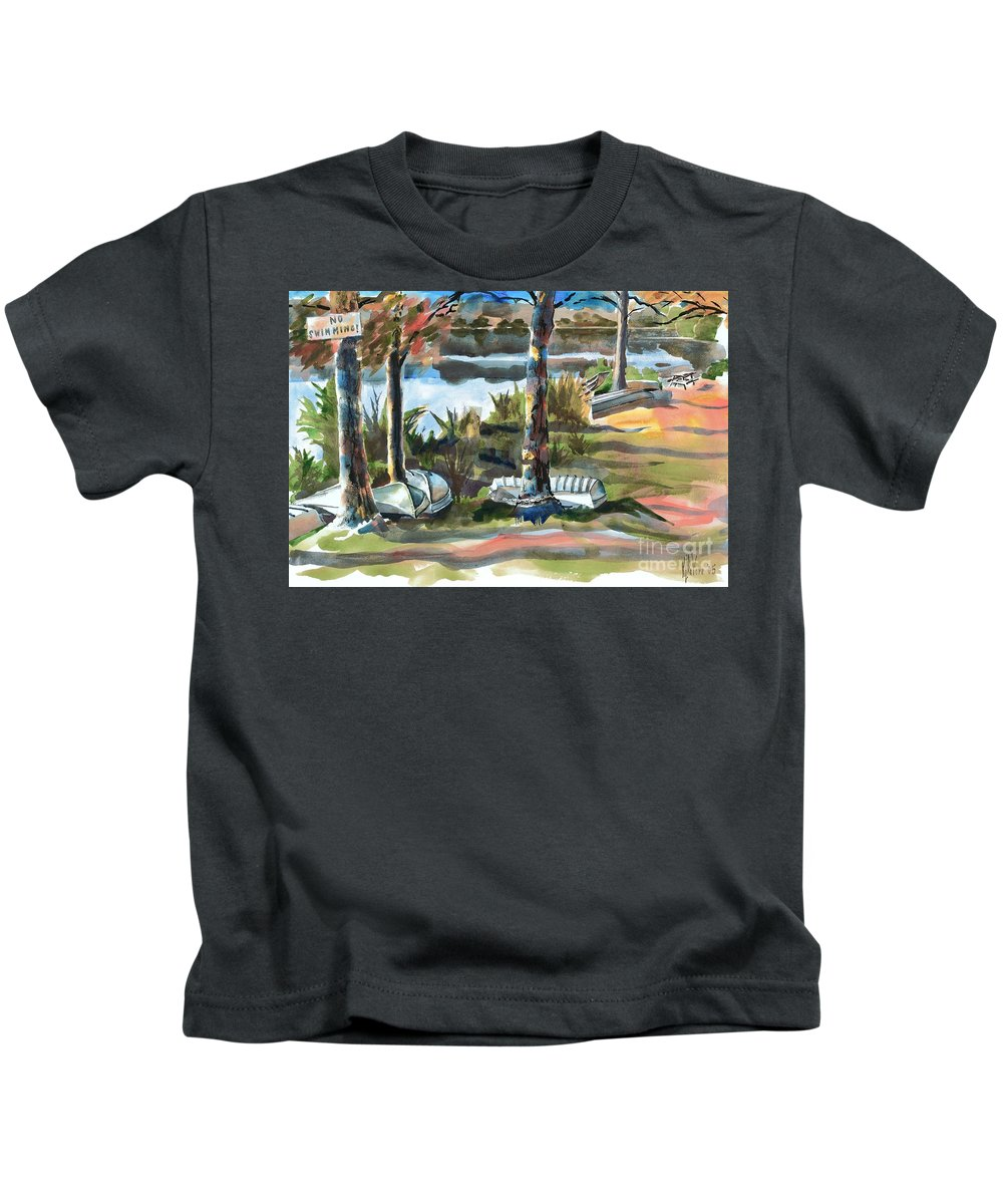 Evening Shadows At Shepherd Mountain Lake No W101 Kids T-Shirt featuring the painting Evening Shadows At Shepherd Mountain Lake No W101 by Kip DeVore