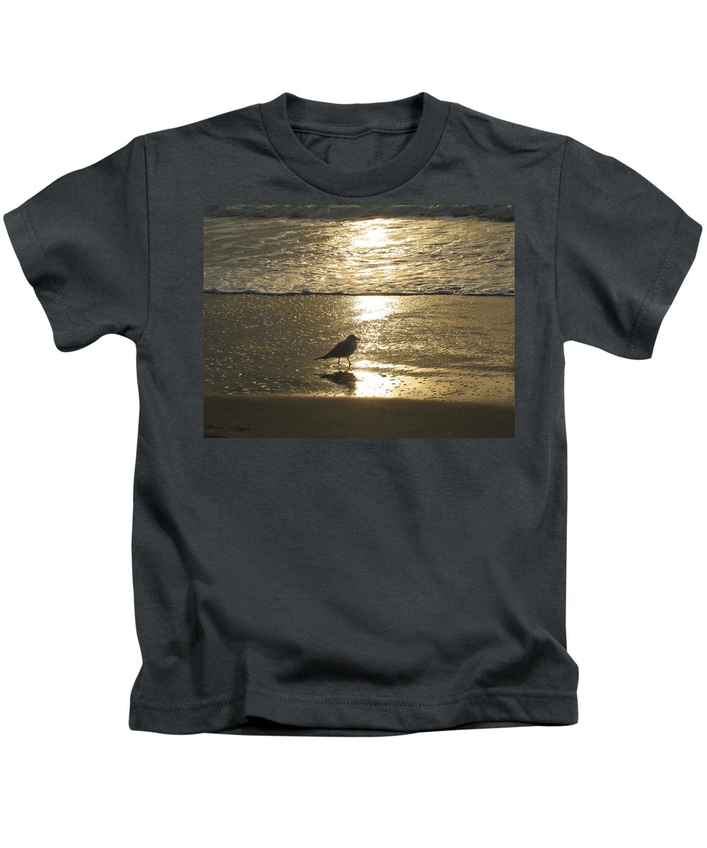 Beach Kids T-Shirt featuring the photograph Evening Stroll For One by Judith Morris