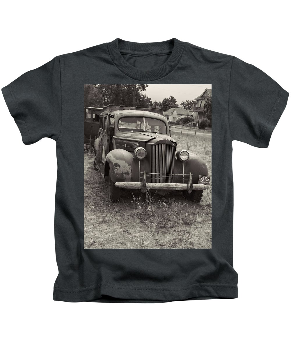 Kids T-Shirt featuring the photograph Fabulous Vintage Car Black And White by Cathy Anderson