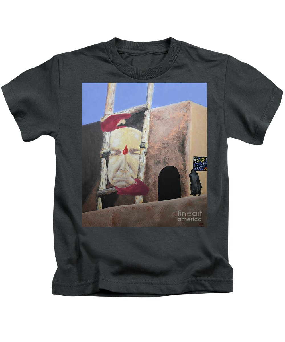 Face Kids T-Shirt featuring the painting Face It by Michelle S White