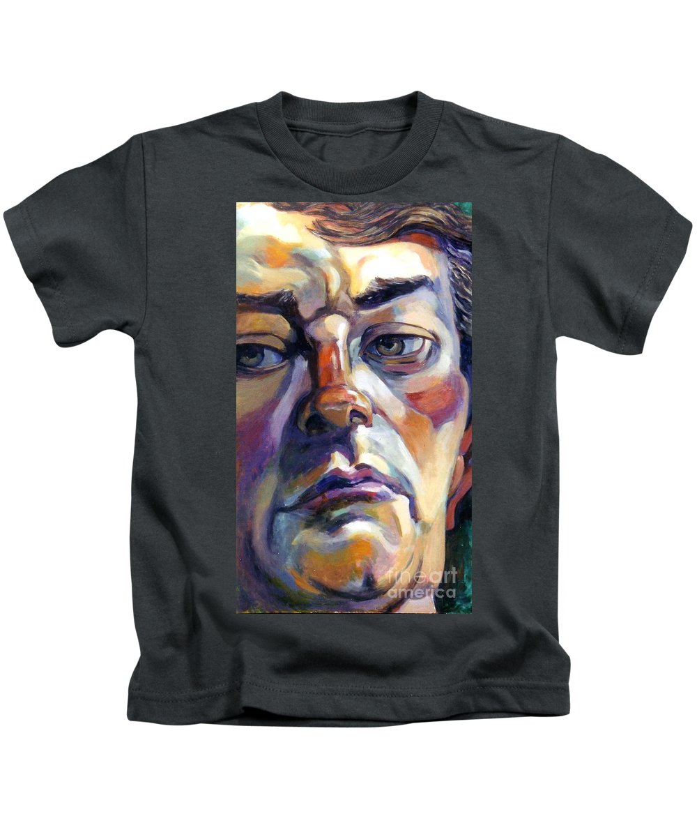 Large Face Painting Kids T-Shirt featuring the painting Face Of A Man by Stan Esson