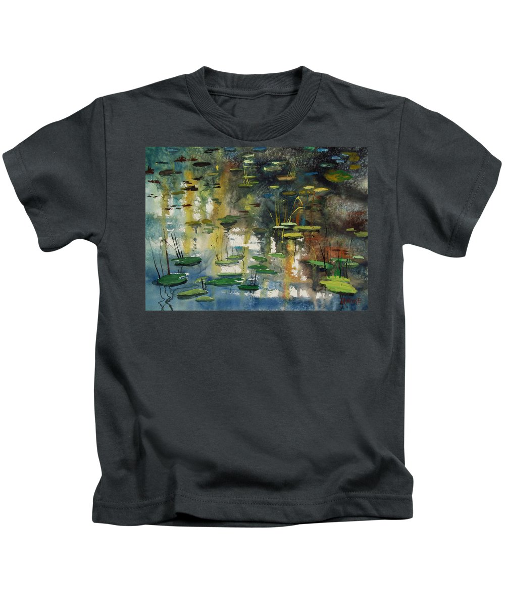 Watercolor Kids T-Shirt featuring the painting Faces In The Pond by Ryan Radke