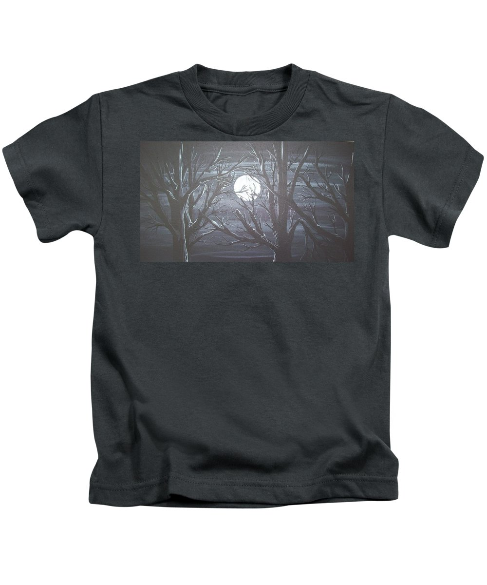 Acrylic Painting Kids T-Shirt featuring the painting Fade To Black by Gerard Provost