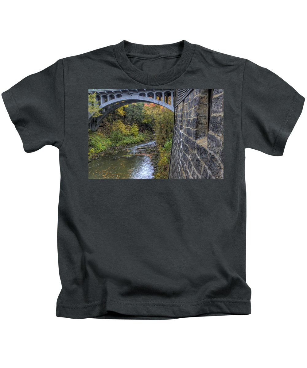 Mill Kids T-Shirt featuring the photograph Fall At Mill Creek Park by David Dufresne