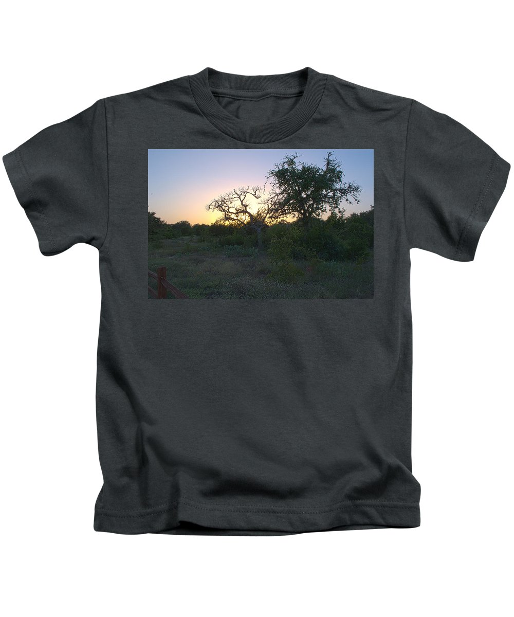 Cedar Park Kids T-Shirt featuring the photograph Cedar Park Texas Fall Creek Sunset by JG Thompson