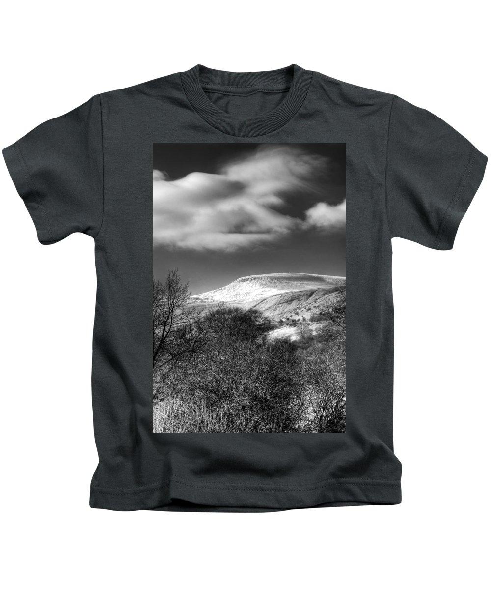 Fan Fawr Mountain Kids T-Shirt featuring the photograph Fan Fawr Brecon Beacons 1 Mono by Steve Purnell