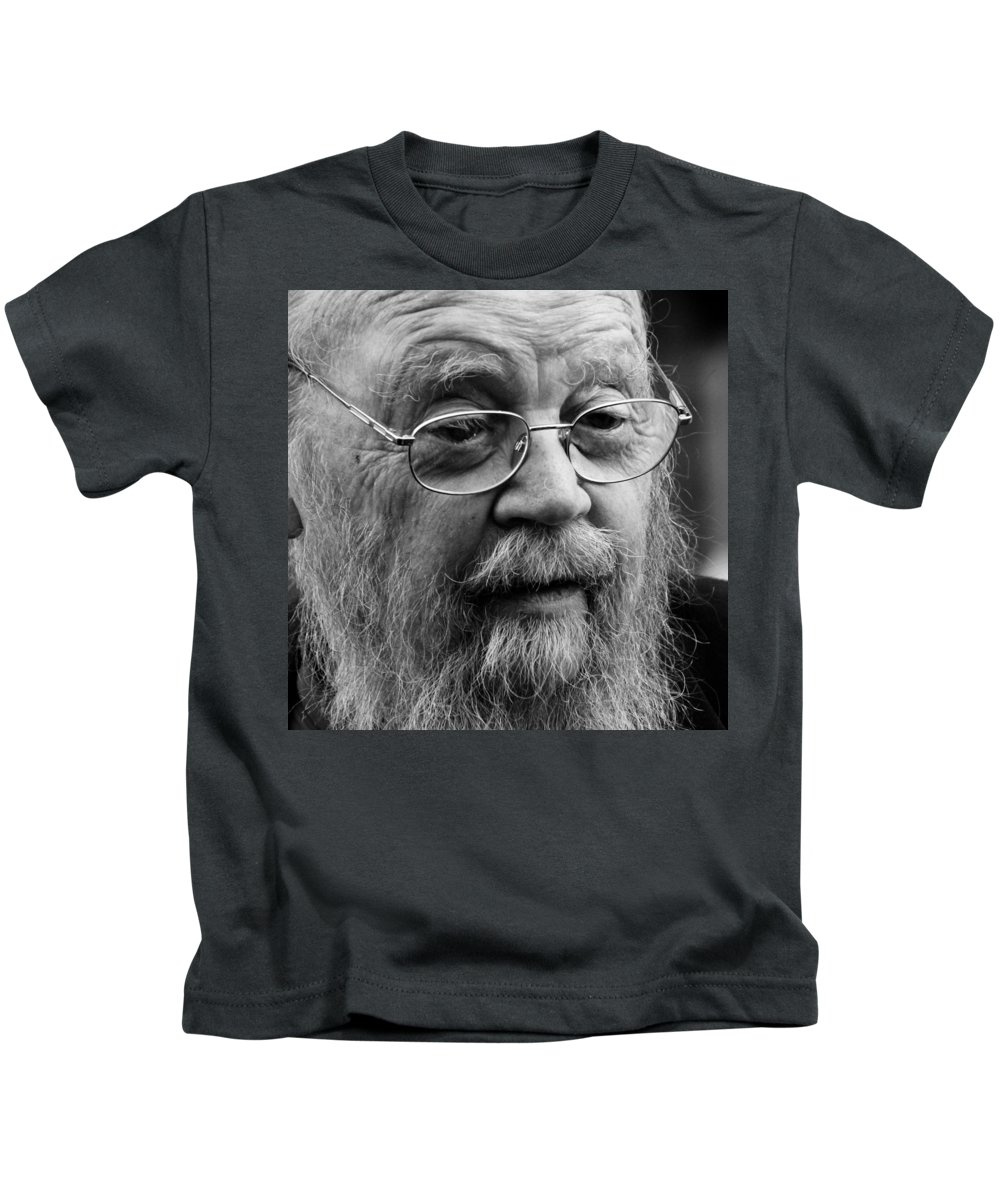 Author Kids T-Shirt featuring the photograph Farley Mowat by Andrew Fare