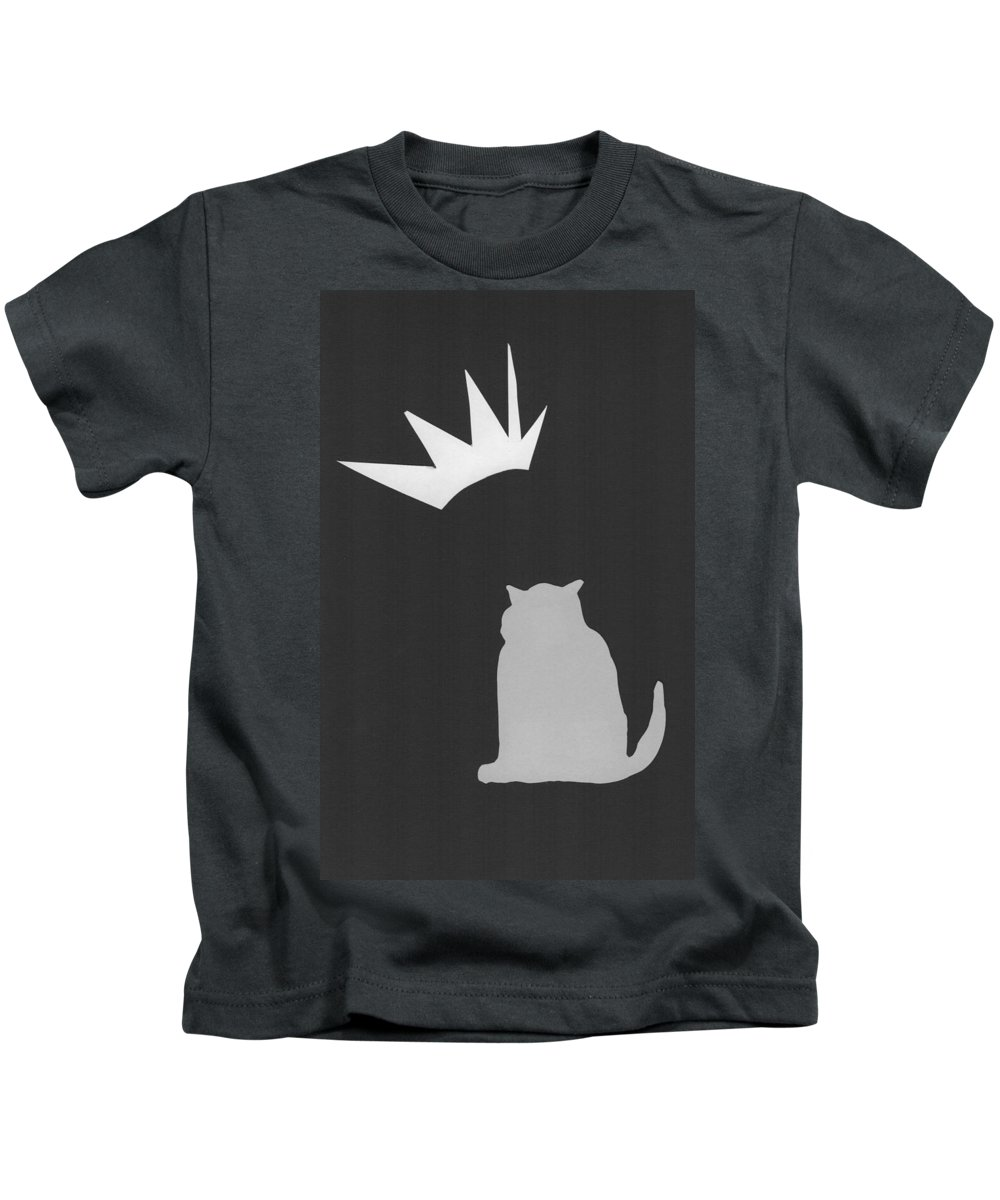 Cats Kids T-Shirt featuring the drawing Fat Cat Three by Catherine Helmick