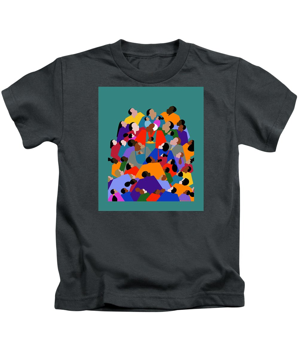 Fathers Kids T-Shirt featuring the painting Fatherhood by Synthia SAINT JAMES