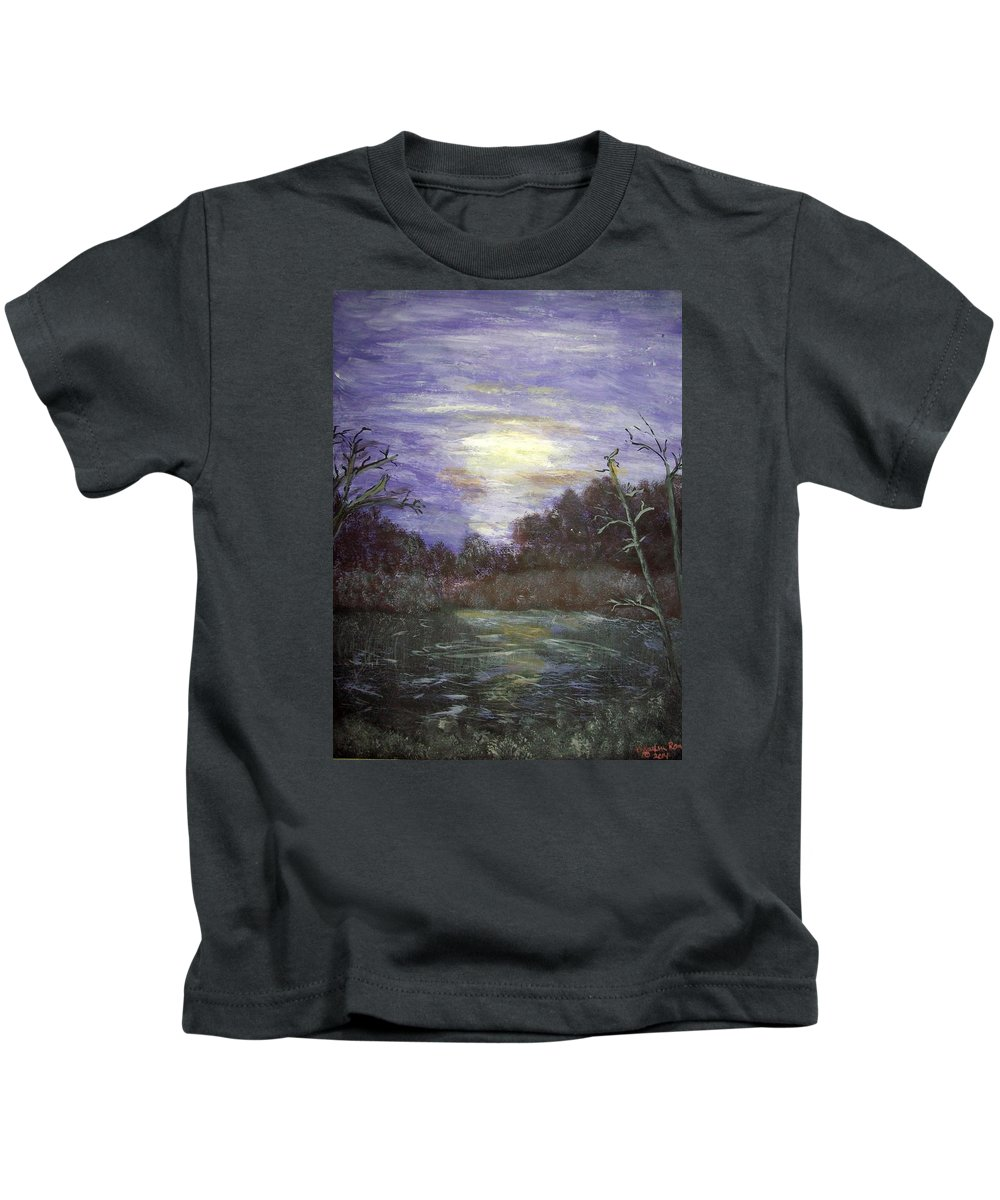 Sunsets Kids T-Shirt featuring the painting Favorite Fishing Spot In Brainerd Minnesota by Dawn Randle