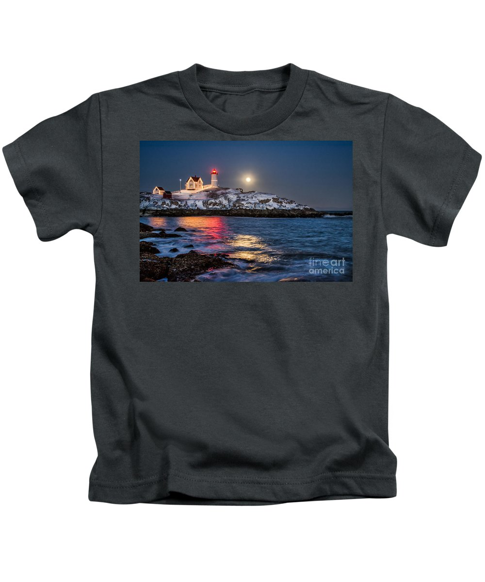 Nubble Lighthouse Kids T-Shirt featuring the photograph February Full Moon by Scott Thorp