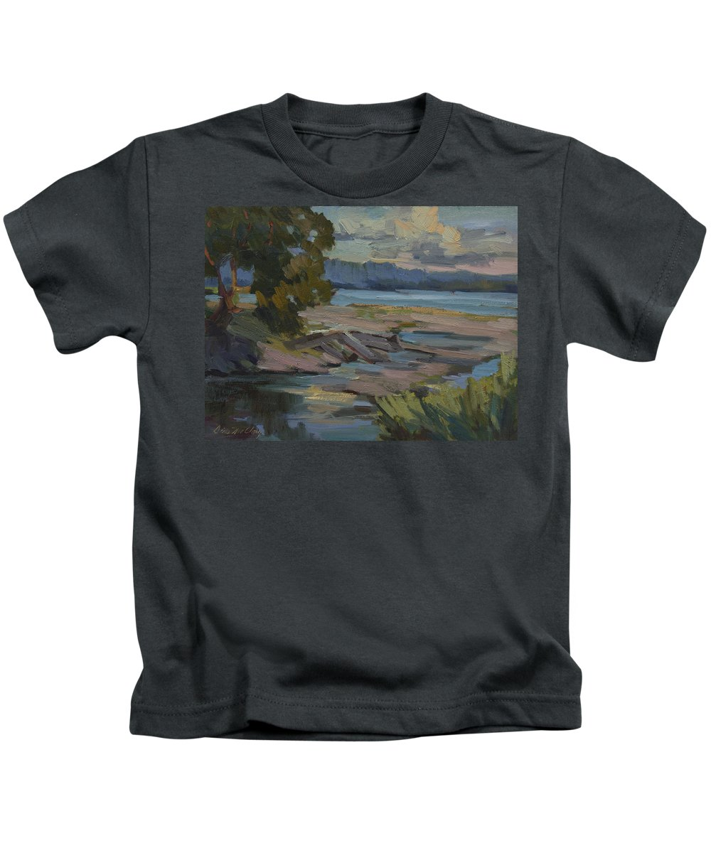 Fern Cove Kids T-Shirt featuring the painting Fern Cove Vashon Island by Diane McClary