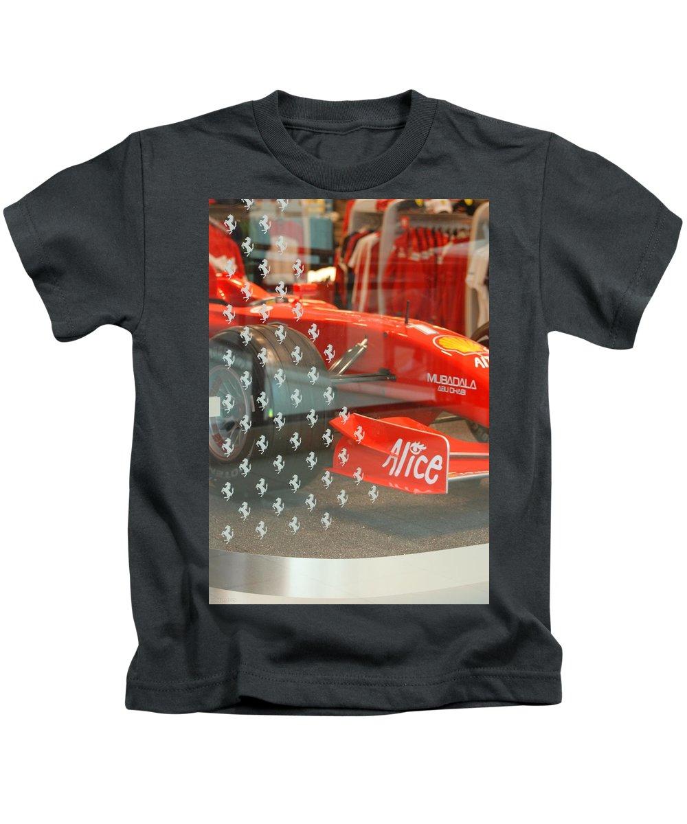 Stallions Kids T-Shirt featuring the photograph Ferrari Formula One by Rob Hans