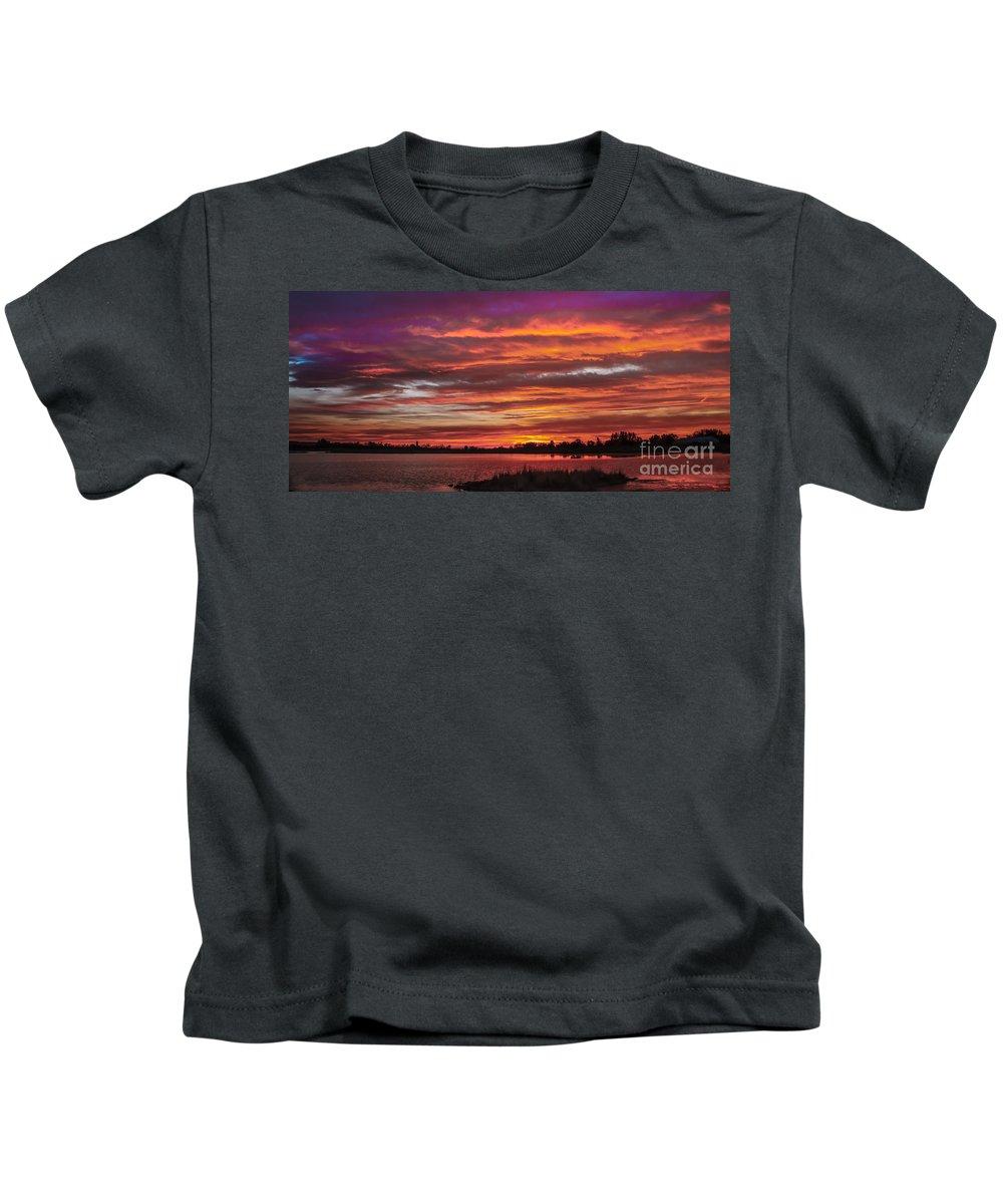 Sunset Kids T-Shirt featuring the photograph Fiery Sunset by Robert Bales