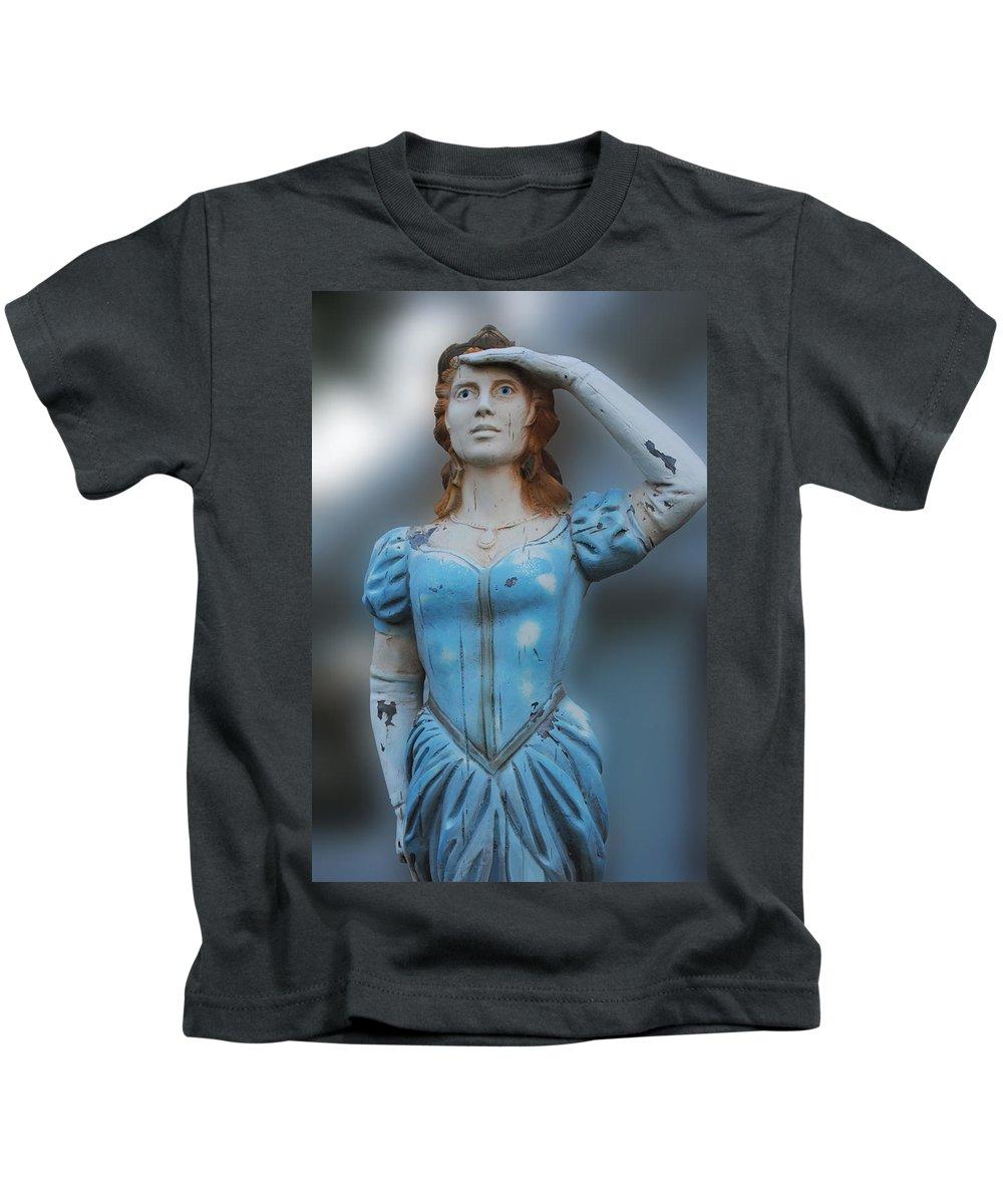 Figurehead Kids T-Shirt featuring the photograph Figurehead by Karen Lambert