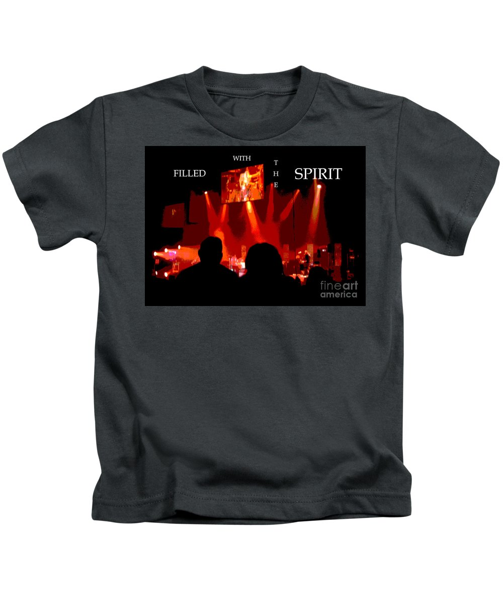 Rock Kids T-Shirt featuring the digital art Filled With The Spirit by Karen Francis