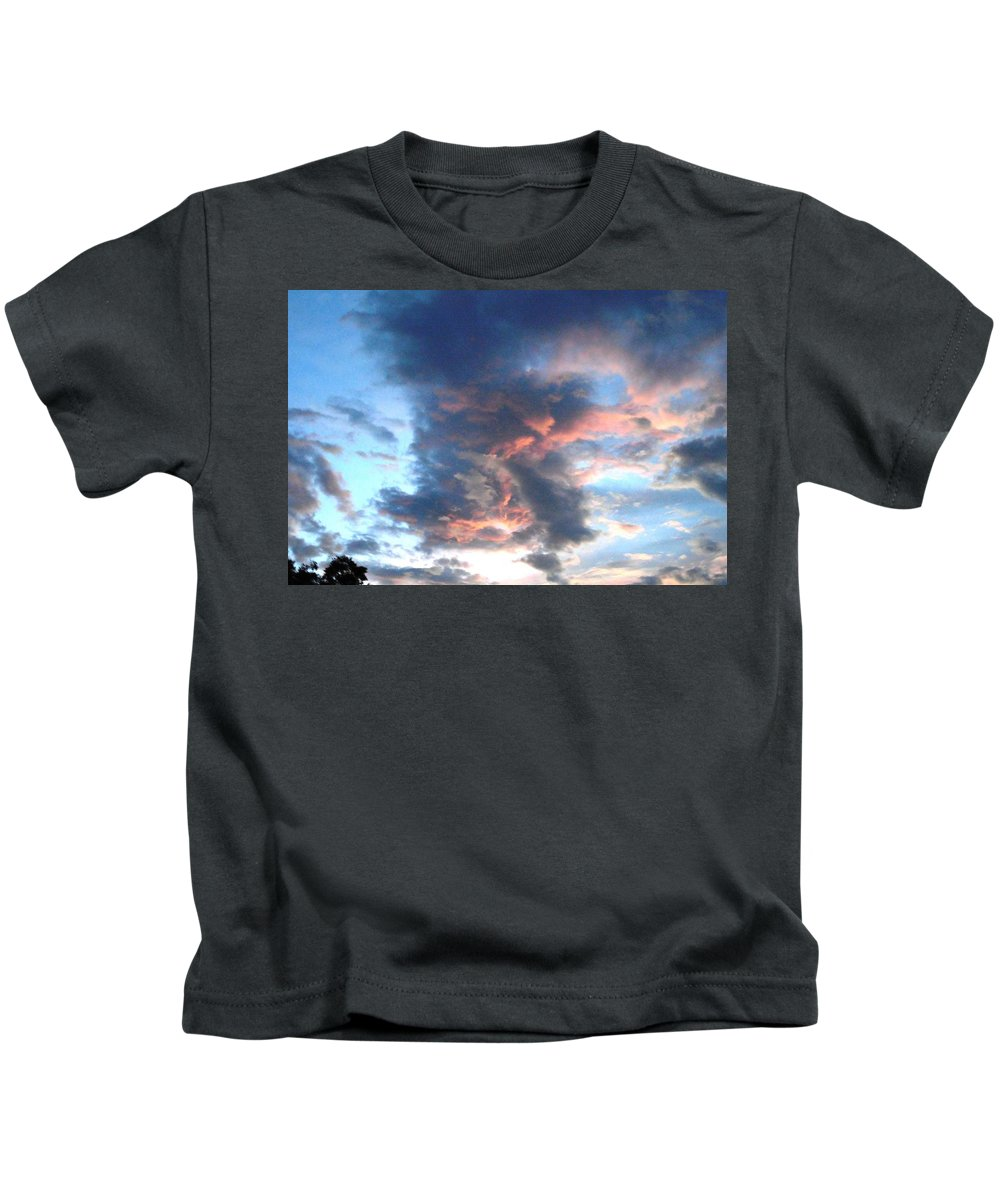 Clouds Kids T-Shirt featuring the photograph Fire In The Sky - 1 by Mike Niday
