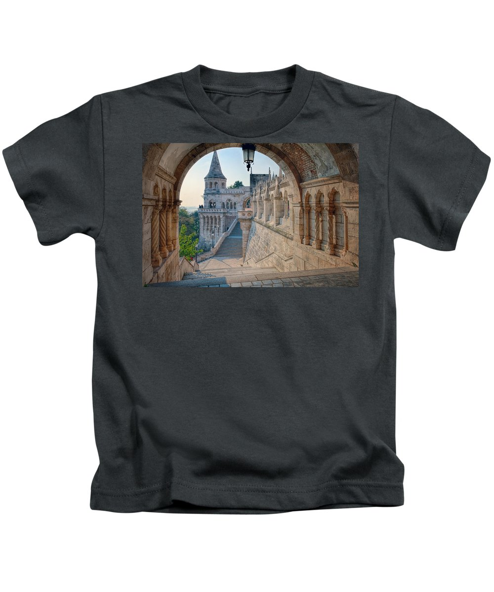 Joan Carroll Kids T-Shirt featuring the photograph Fisherman's Bastion Budapest by Joan Carroll