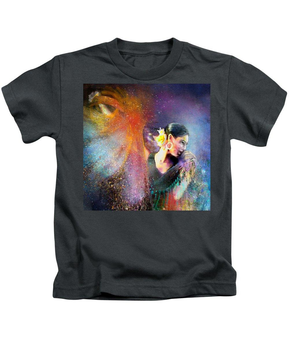 Flamenco Kids T-Shirt featuring the painting Flamencoscape 04 by Miki De Goodaboom