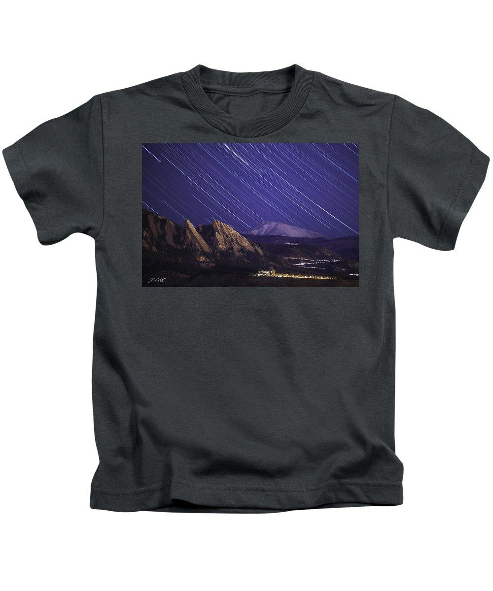 Longs Peak Kids T-Shirt featuring the photograph Flat Lined by Jon Blake
