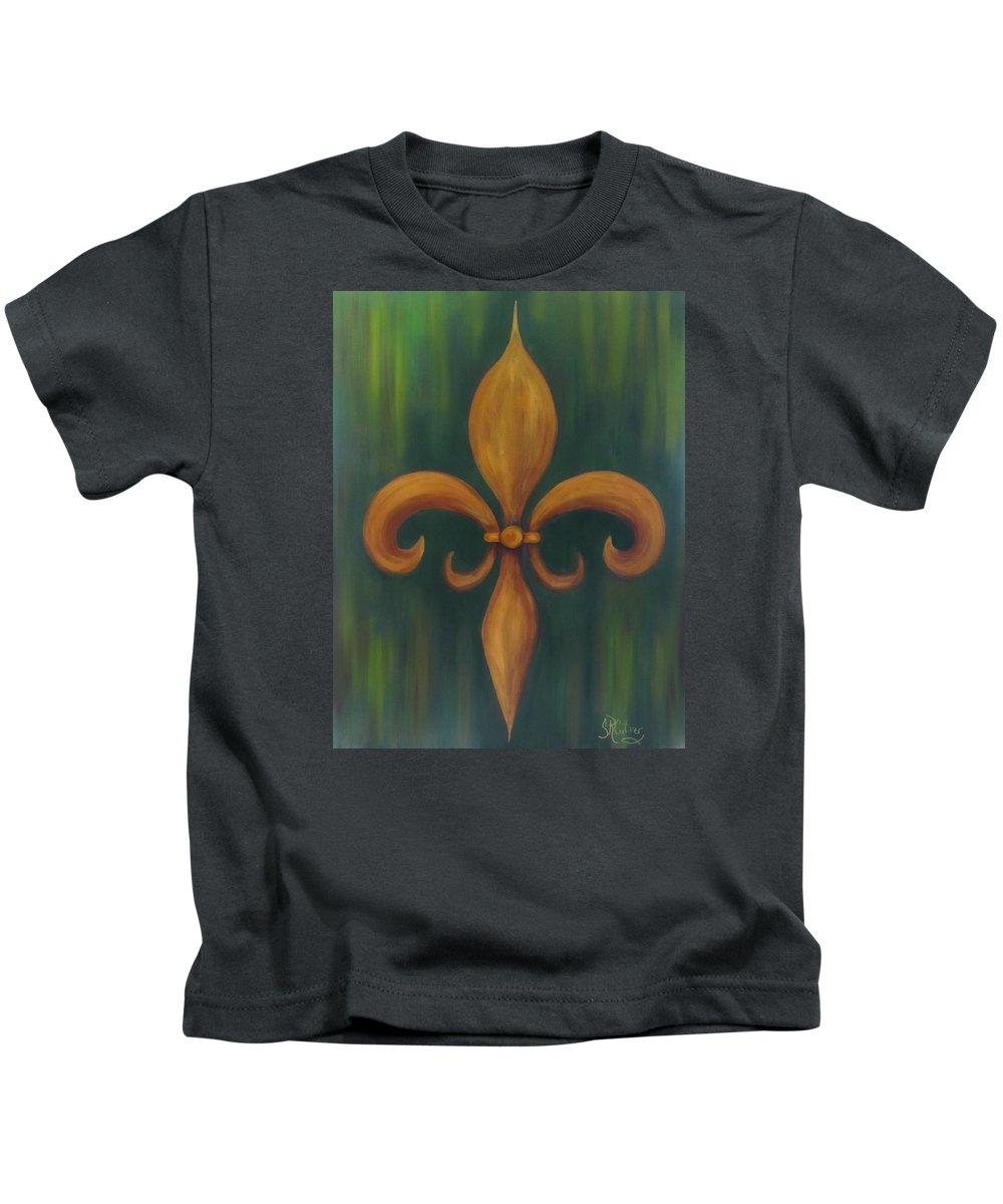 Fleur De Lis Kids T-Shirt featuring the painting Fleur-de-lis by Sandra Reeves