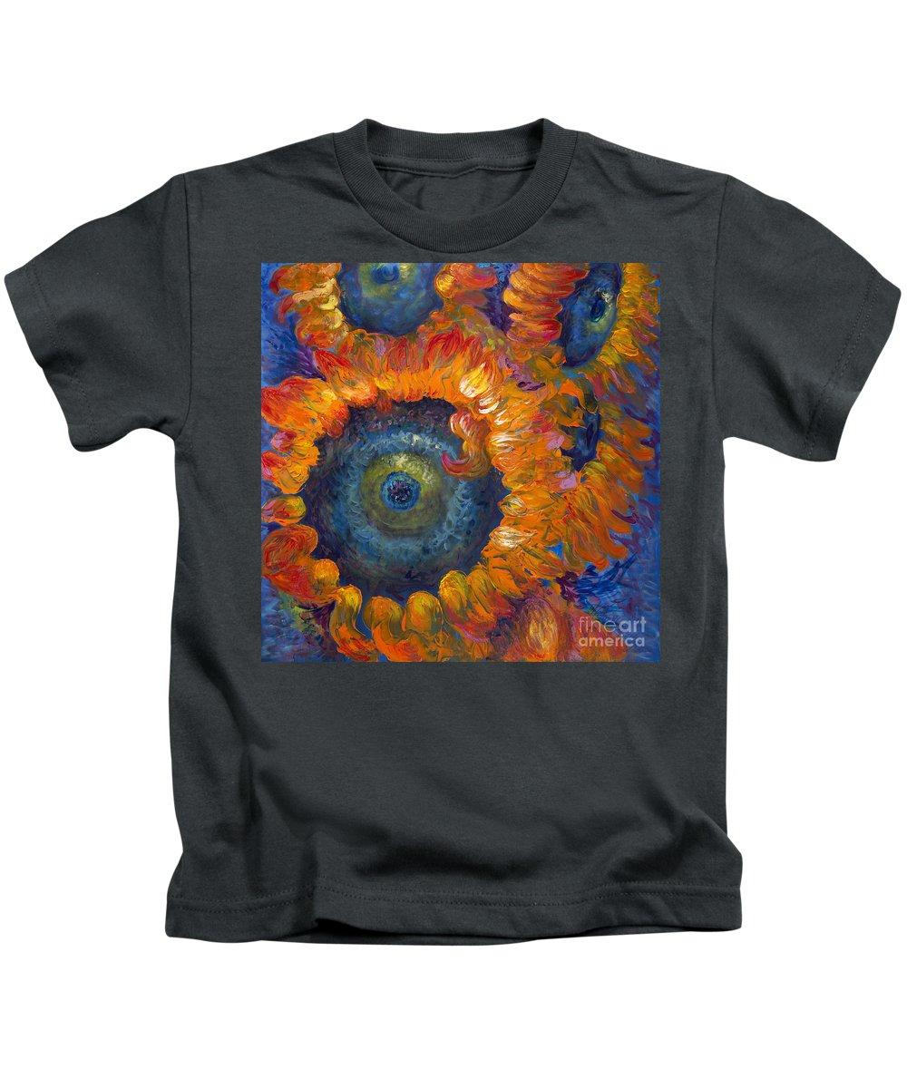 Flowers Kids T-Shirt featuring the painting Fleur du Feu by Nadine Rippelmeyer