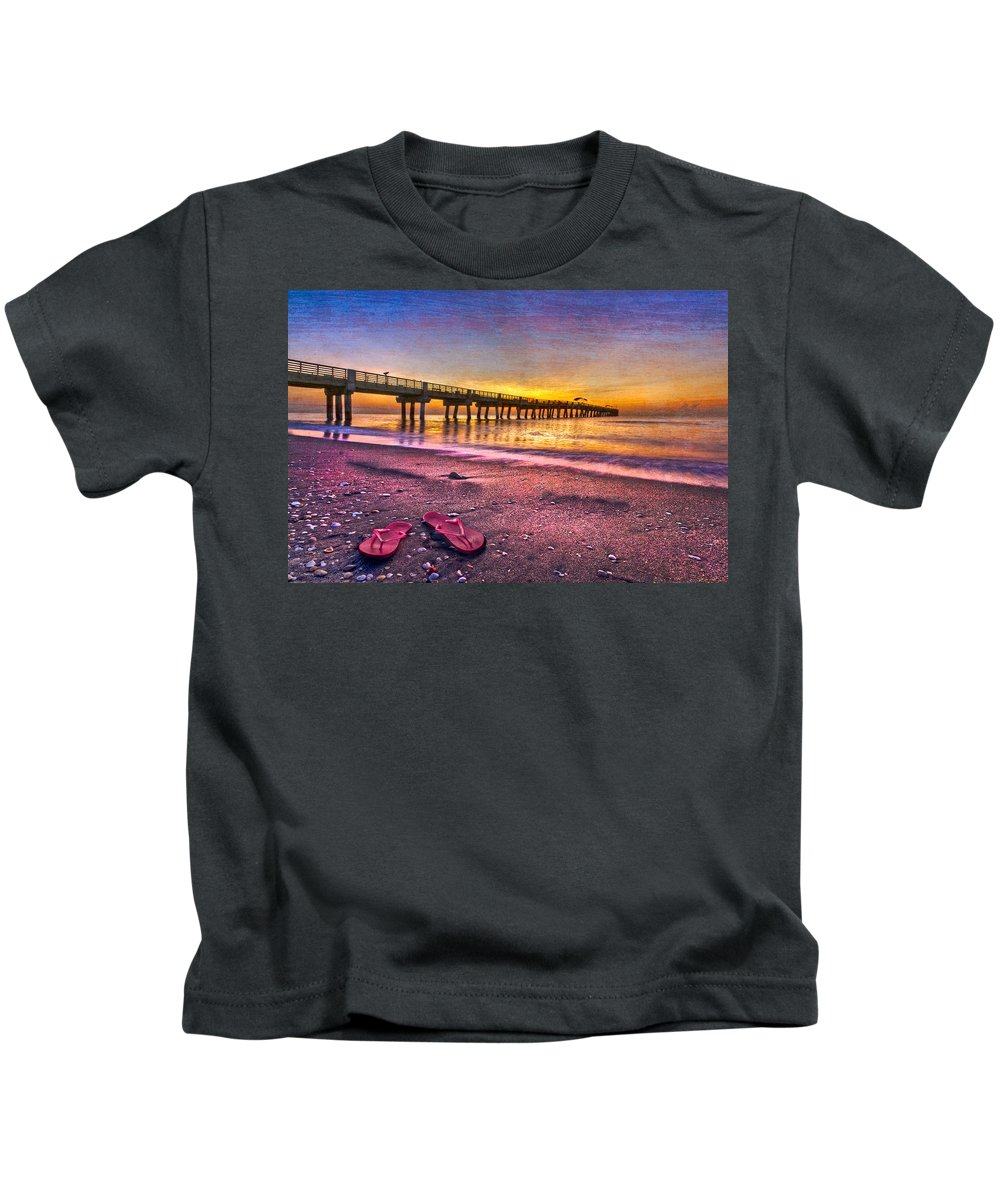 Clouds Kids T-Shirt featuring the photograph Flip-flops by Debra and Dave Vanderlaan