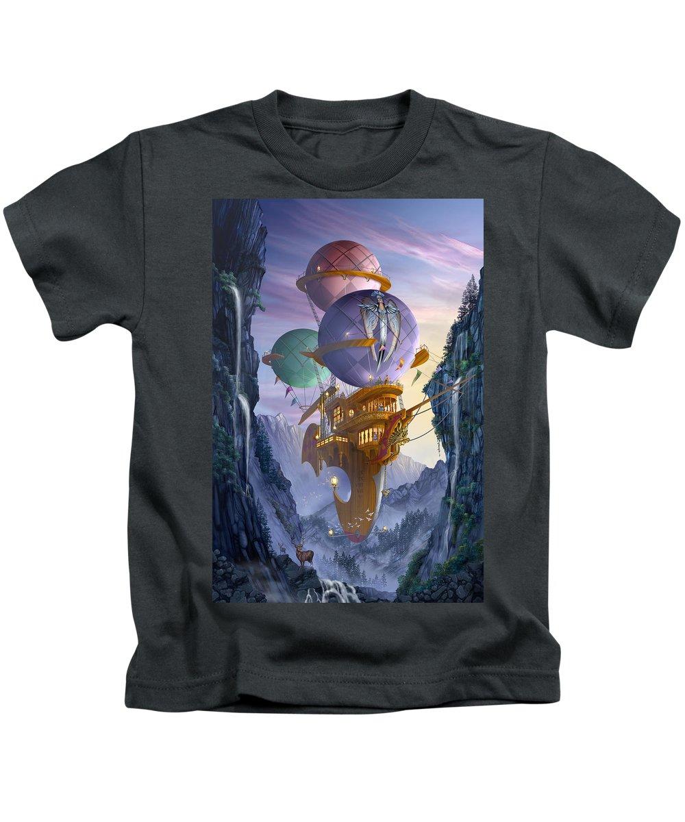 Ciro Marchetti Kids T-Shirt featuring the digital art Floatilla by Ciro Marchetti