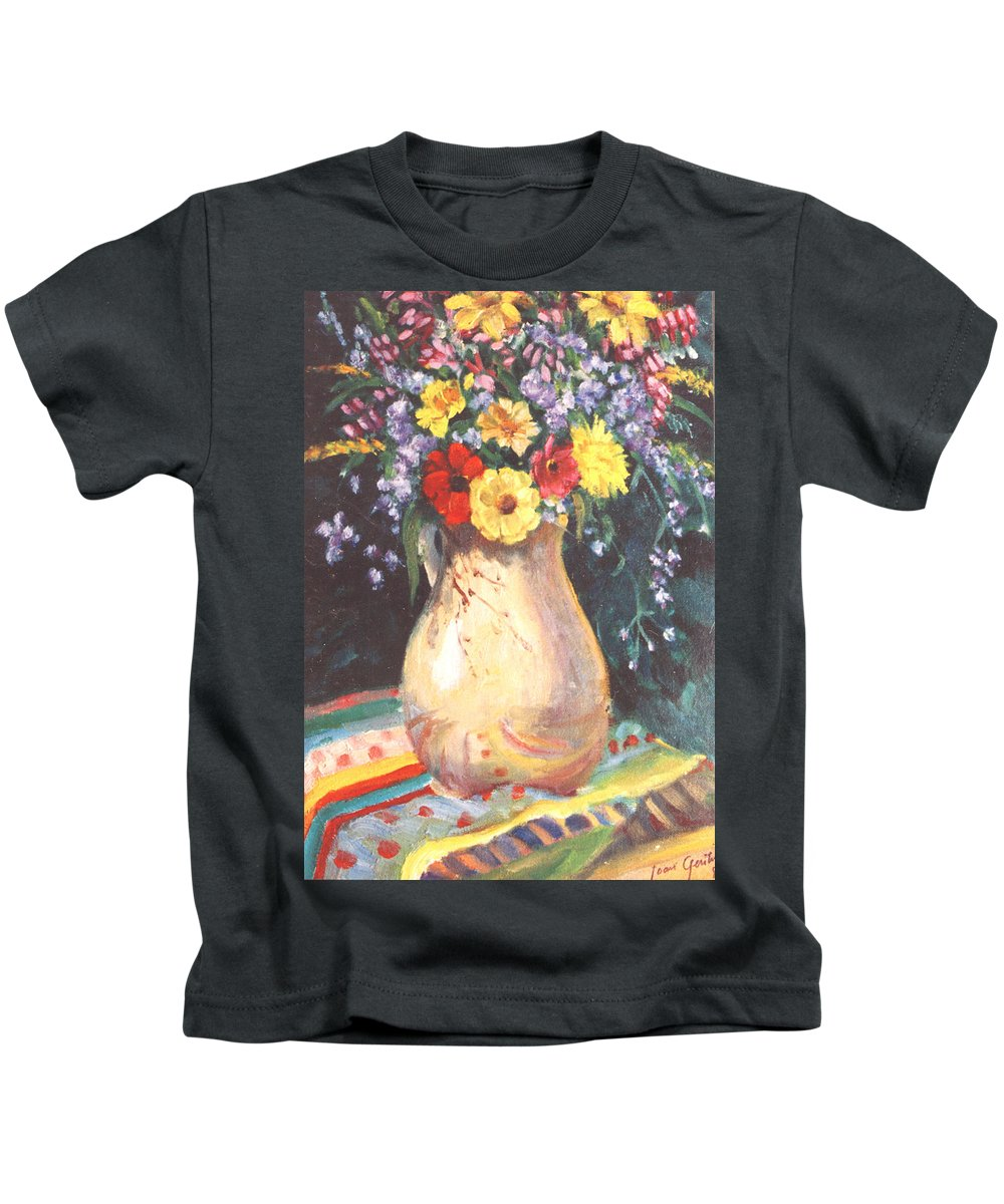 Floral Kids T-Shirt featuring the painting Floral 15 by Joan Columbus