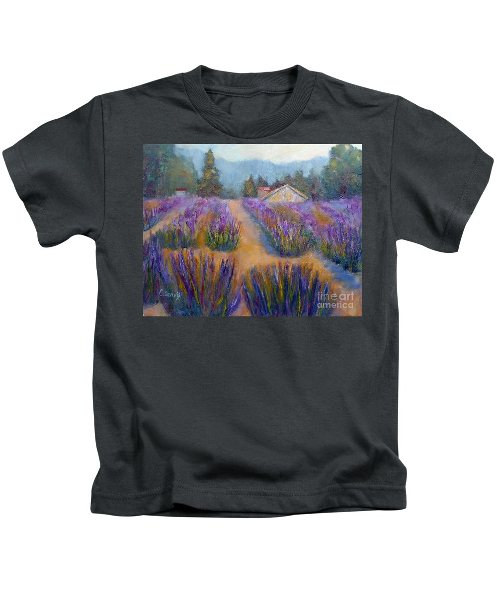 Lavender Kids T-Shirt featuring the painting Flower Garden by Carolyn Jarvis