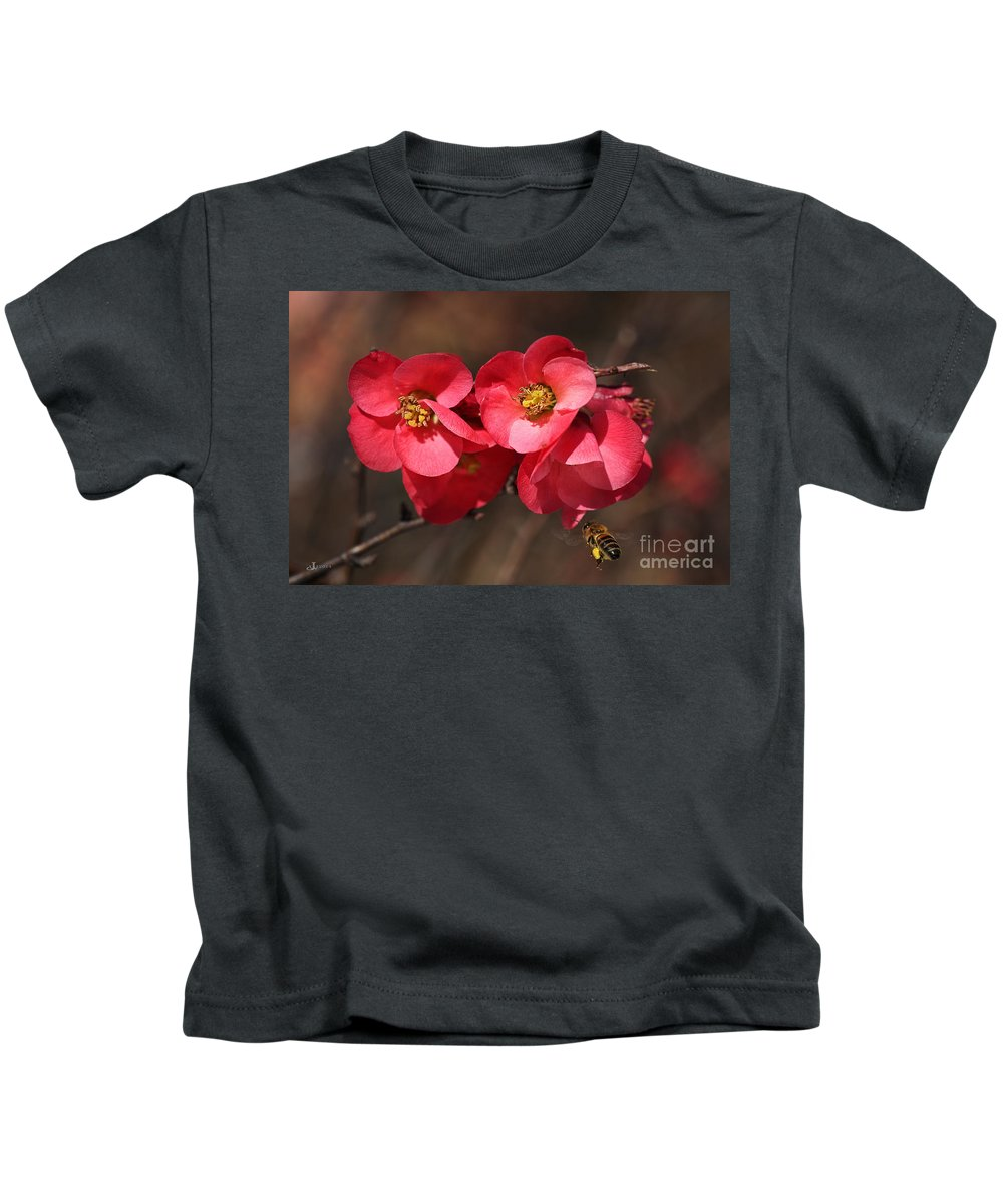 Bubbleblue Kids T-Shirt featuring the photograph Flowering Quince With Bee by Joy Watson