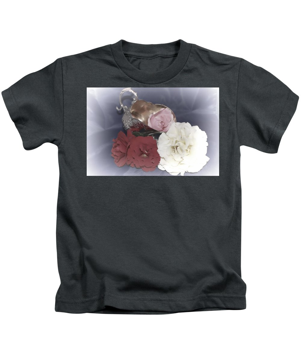 Kids T-Shirt featuring the photograph Flowers In Silver by Cathy Anderson