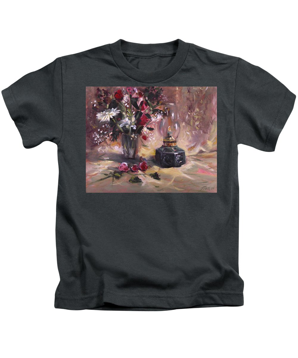 Flowers Kids T-Shirt featuring the painting Flowers With Lantern by Nancy Griswold