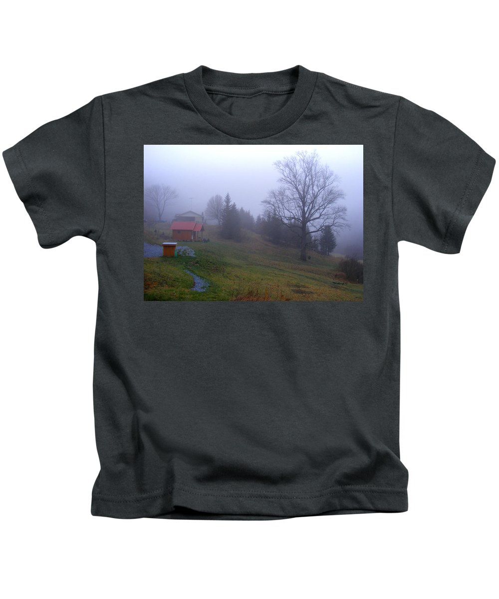 Landscapes Kids T-Shirt featuring the photograph Foggy Cabin And Hillside by Duane McCullough