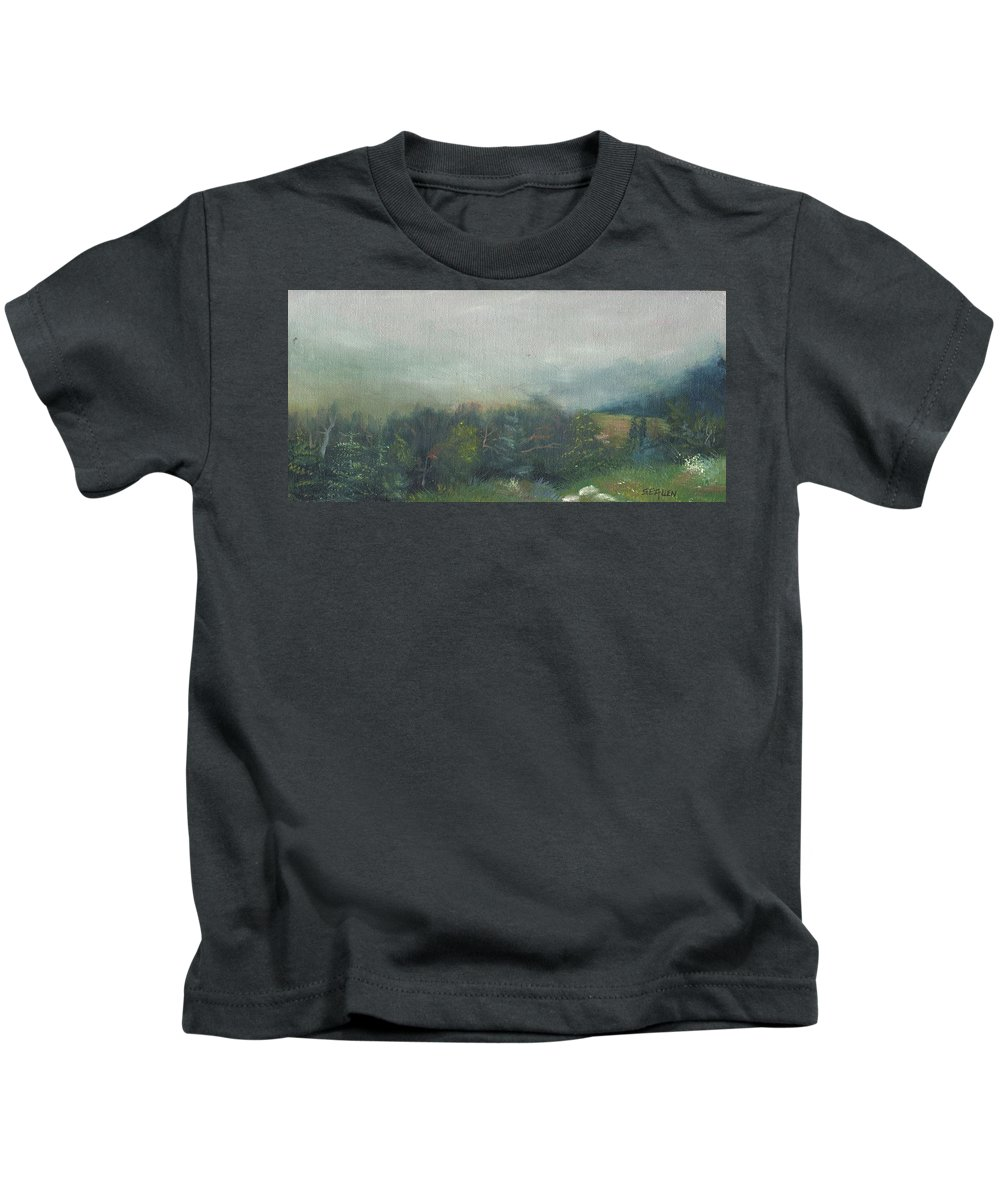 Landscape Kids T-Shirt featuring the painting Foggy Morning on Cannon by Sharon E Allen