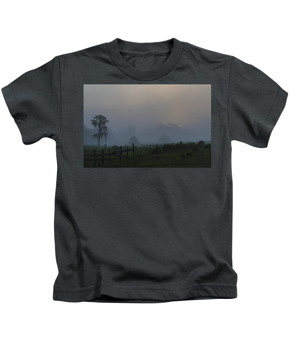 Sunrise Kids T-Shirt featuring the photograph Foggy Sunrise by Kenneth Blye