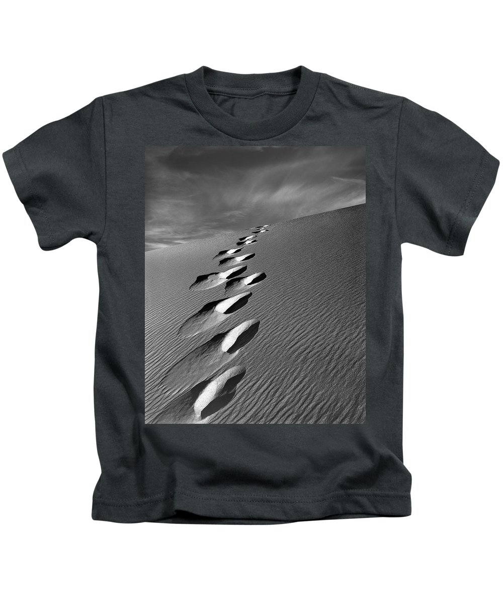Footprints In Sand Kids T-Shirt featuring the photograph Footprints In Sand by Leland D Howard