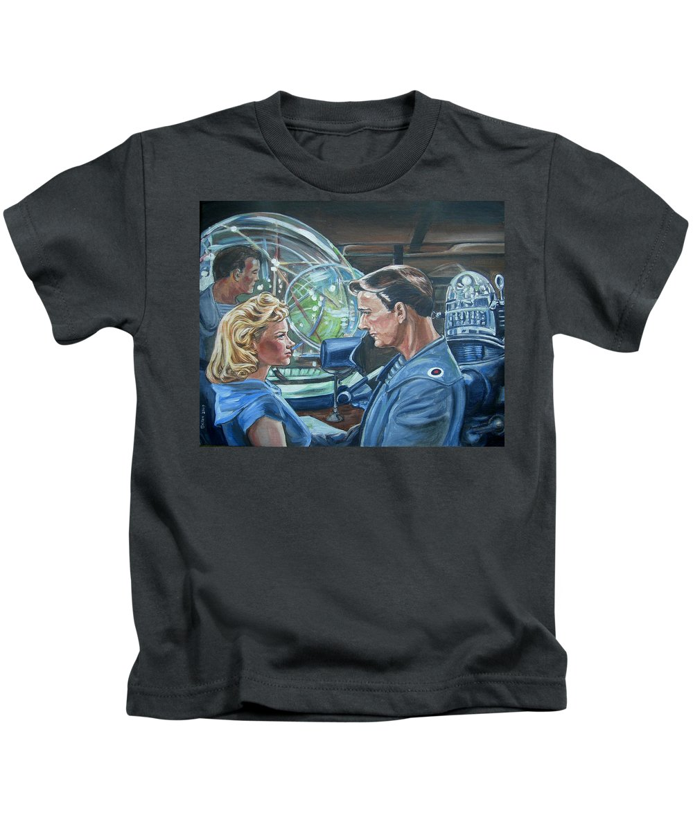 Forbidden Planet Kids T-Shirt featuring the painting Forbidden Planet by Bryan Bustard