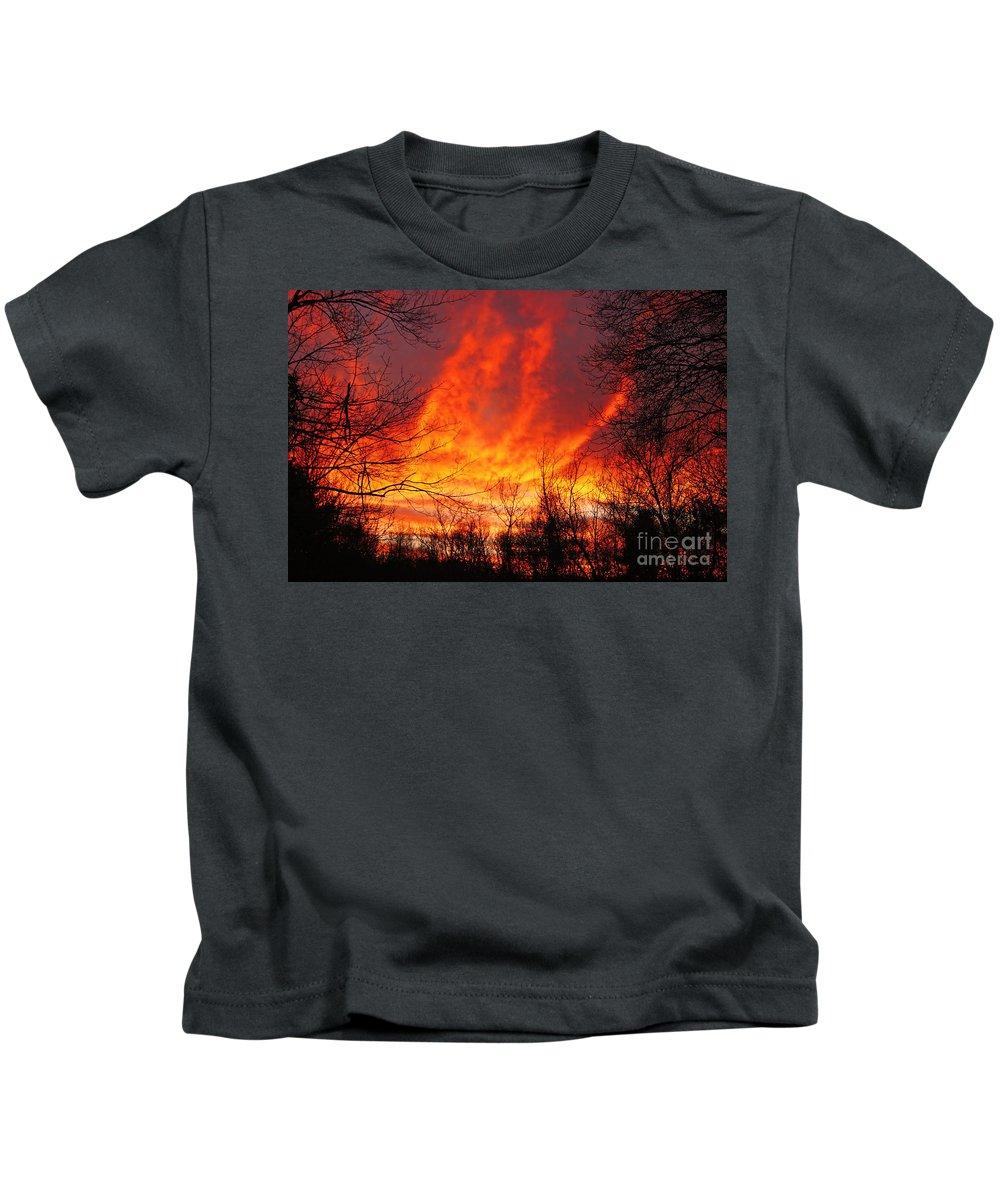 Sun Kids T-Shirt featuring the photograph Forest Fire by Joe Geraci