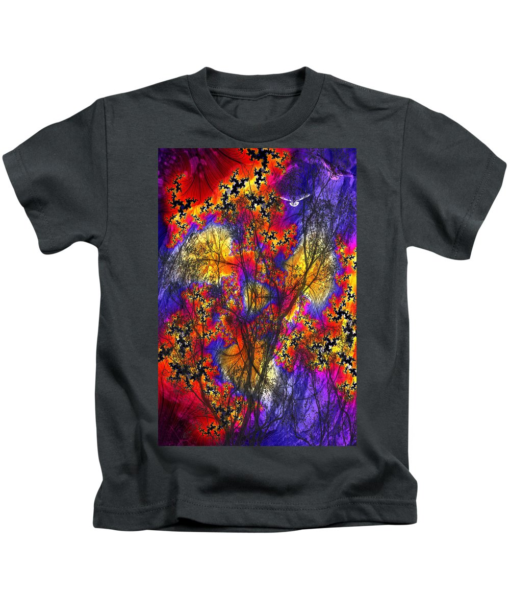 Forest Fire Kids T-Shirt featuring the digital art Forest Fire by Lisa Yount