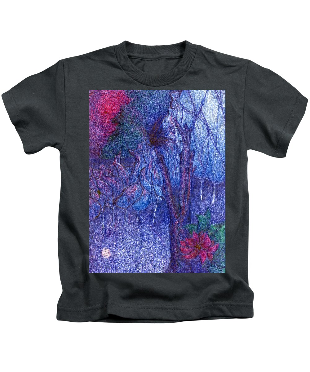 Colour Kids T-Shirt featuring the drawing Forest Flower by Wojtek Kowalski