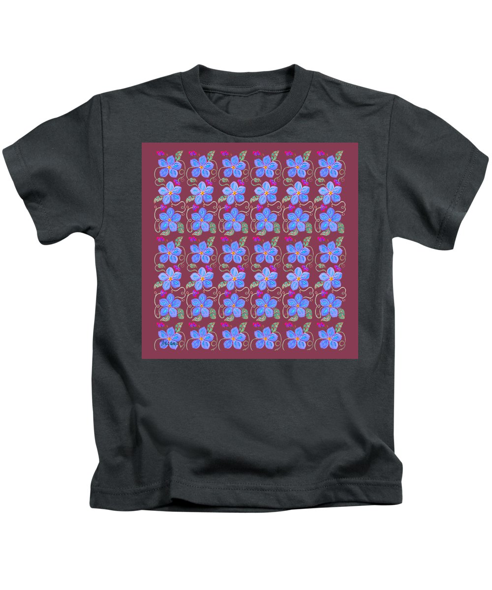 Forget Me Not Kids T-Shirt featuring the painting Forgetmenot Pattern On Marsala In Square by Teresa Ascone