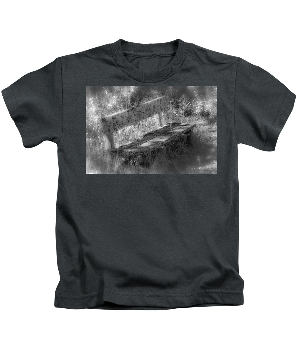 Sunlight Kids T-Shirt featuring the photograph Forgotten Bench by Gareth Burge Photography