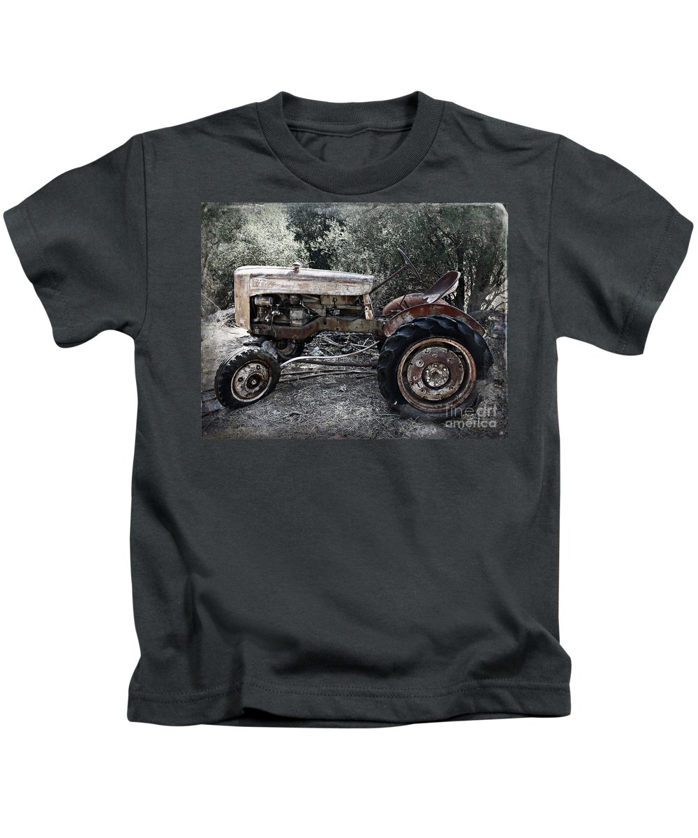 Tractor Kids T-Shirt featuring the photograph Forgotten by Clare Bevan