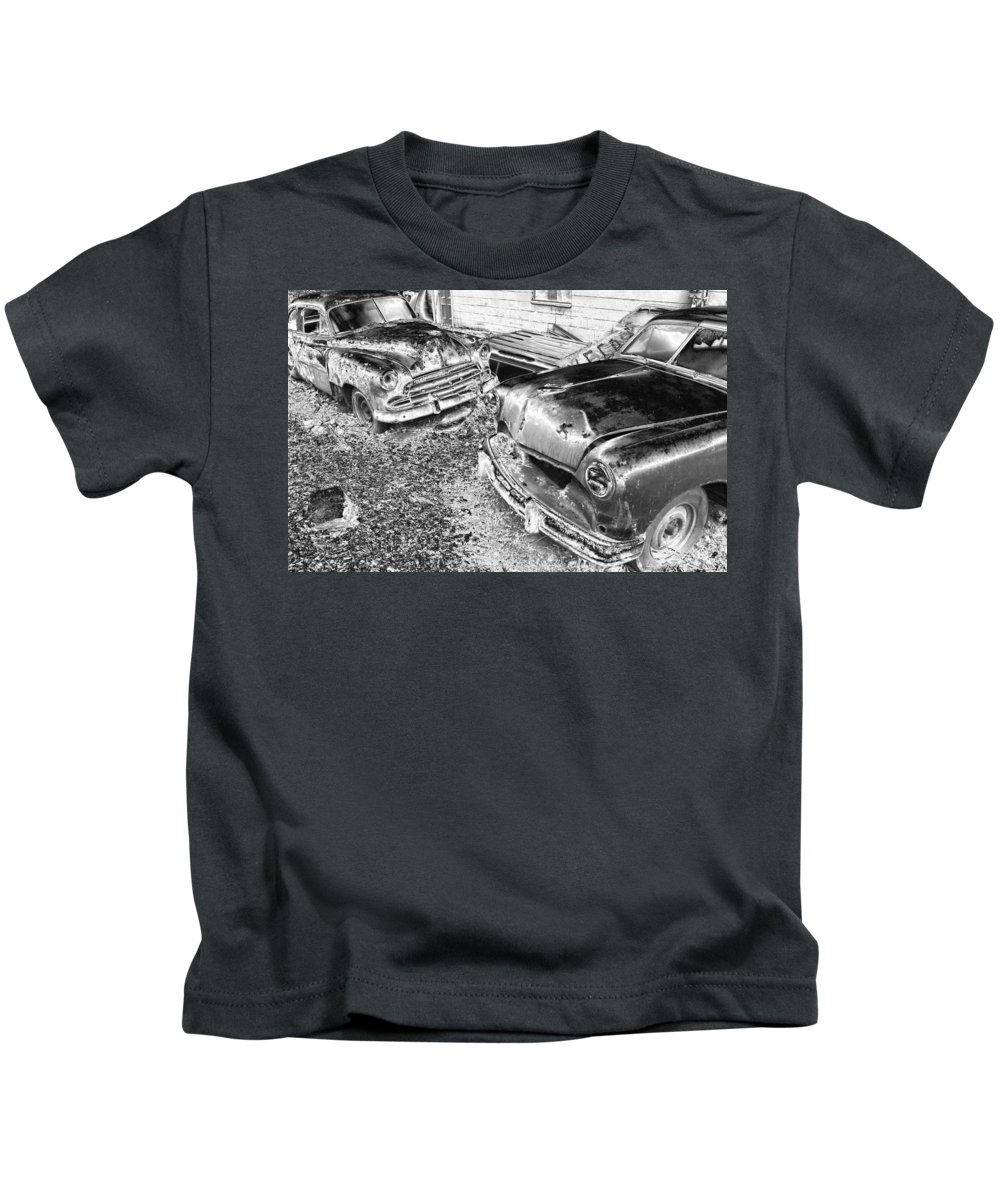 Cars Kids T-Shirt featuring the photograph Forgotten Classics by Karol Livote