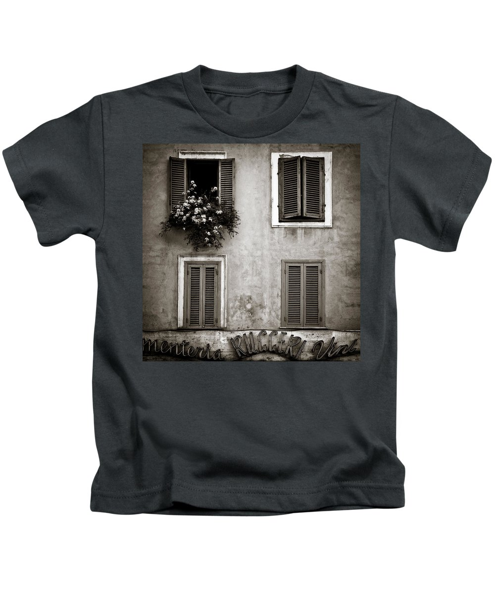 Rome Kids T-Shirt featuring the photograph Four Windows by Dave Bowman