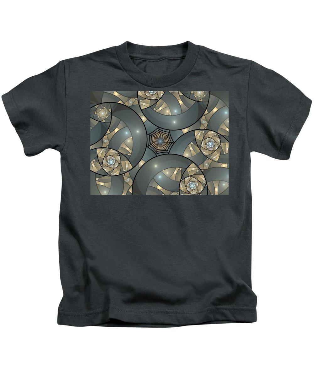 Digital Art Kids T-Shirt featuring the digital art Fractal Art Deco by Gabiw Art