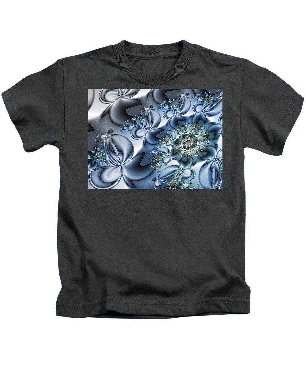 Digital Art Kids T-Shirt featuring the digital art Fractal Dancing The Blues by Gabiw Art