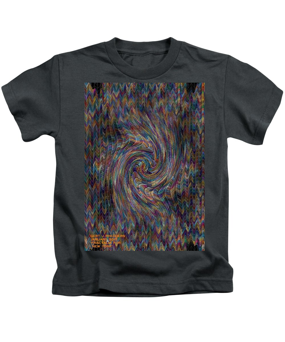 Landscape Kids T-Shirt featuring the painting Fractalia For New York V A by Gert J Rheeders